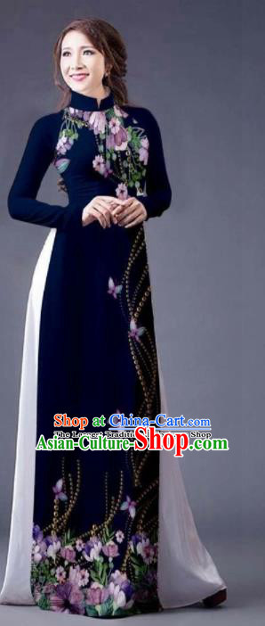 Vietnam Traditional Bride Costume Vietnamese Printing Navy Ao Dai Qipao Dress Cheongsam for Women