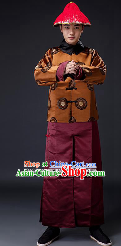 Traditional Chinese Ancient Drama Costumes Qing Dynasty Imperial Bodyguard Clothing and Hat for Men