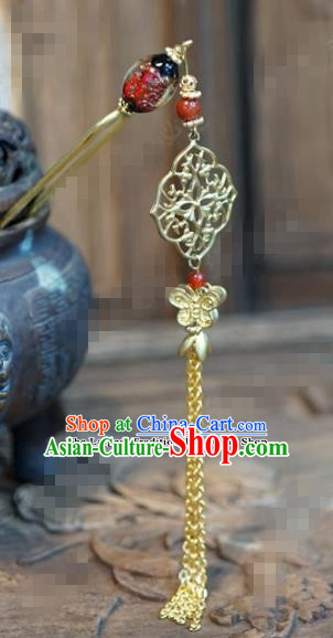 Chinese Ancient Wedding Hair Jewelry Accessories Palace Tassel Step Shake Golden Hairpins for Women