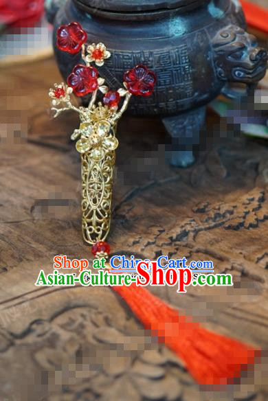 Chinese Traditional Palace Plum Blossom Brooch Ancient Bride Hanfu Breastpin Jewelry Accessories for Women