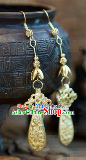 Chinese Traditional Palace Golden Earrings Ancient Bride Hanfu Jewelry Accessories for Women
