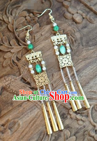 Chinese Traditional Palace Jade Earrings Ancient Bride Hanfu Jewelry Accessories for Women