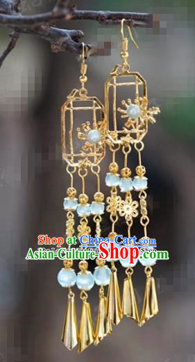 Chinese Traditional Wedding Golden Tassel Earrings Ancient Bride Hanfu Jewelry Accessories for Women