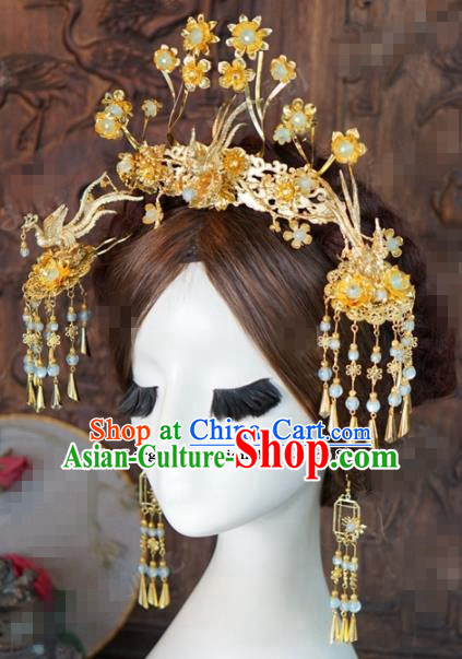 Chinese Ancient Wedding Hair Accessories Golden Phoenix Coronet Palace Queen Hairpins for Women