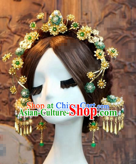Chinese Ancient Bride Hair Accessories Wedding Palace Hair Clasp Hairpins for Women