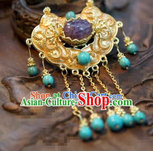Chinese Traditional Wedding Hanfu Purple Crystal Brooch Ancient Bride Palace Jewelry Accessories for Women
