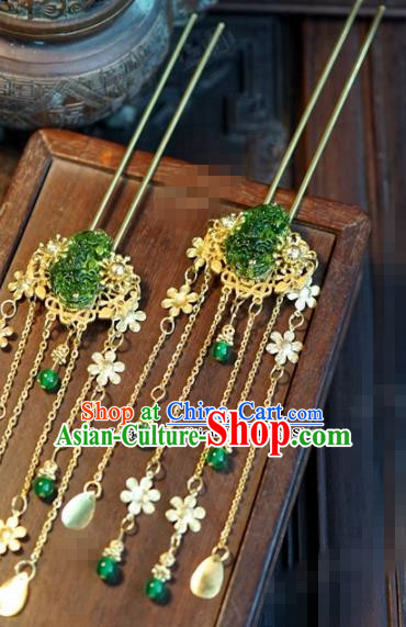 Chinese Ancient Bride Hair Accessories Wedding Tassel Step Shake Palace Hairpins for Women