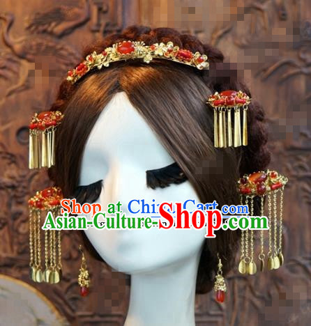 Chinese Ancient Bride Hair Accessories Wedding Tassel Step Shake Agate Hairpins Complete Set for Women