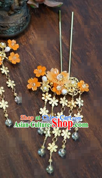 Chinese Ancient Bride Hair Accessories Wedding Flowers Tassel Step Shake Hairpins for Women