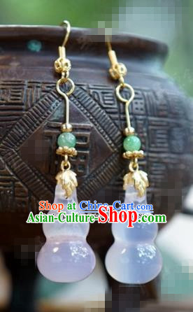 chinese Traditional Palace Chalcedony Earrings Ancient Bride Hanfu Jewelry Accessories for Women