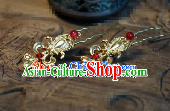 Chinese Ancient Wedding Queen Hair Jewelry Accessories Palace Golden Hair Clip Hairpins for Women