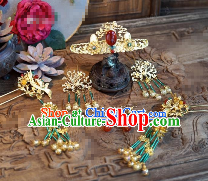 Chinese Ancient Wedding Hair Jewelry Accessories Palace Agate Hair Crown Hairpins Complete Set for Women