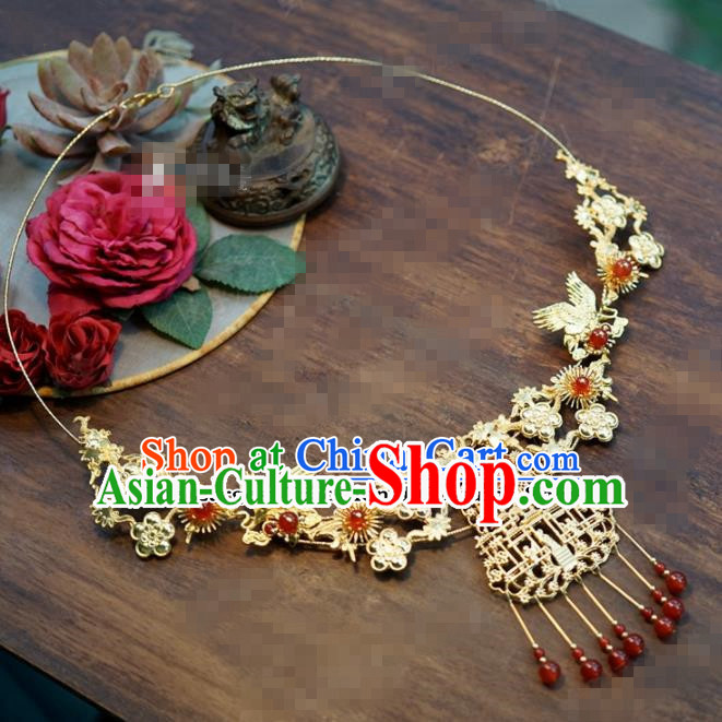 Chinese Traditional Wedding Hanfu Agate Crane Necklace Ancient Bride Palace Jewelry Accessories for Women