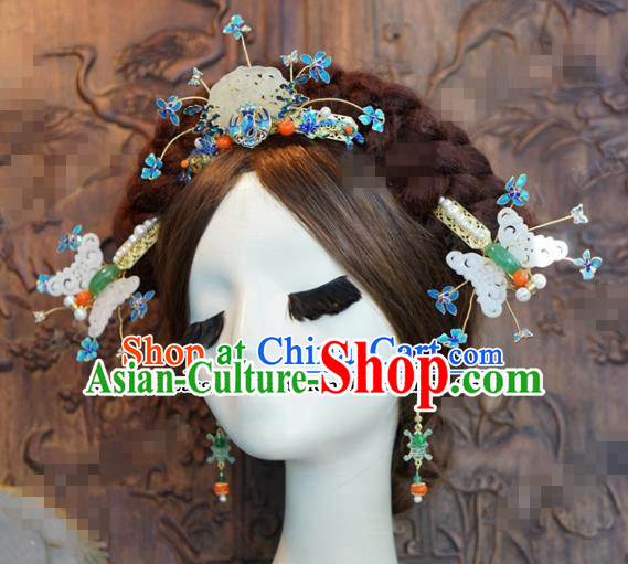 Chinese Ancient Hair Accessories Wedding Bride Jade Butterfly Hair Clips Hairpins Complete Set for Women