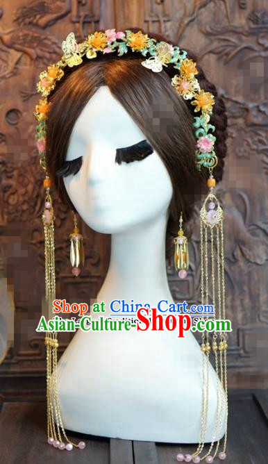 Chinese Ancient Queen Tassel Hair Clasp Wedding Bride Hairpins Headdress for Women