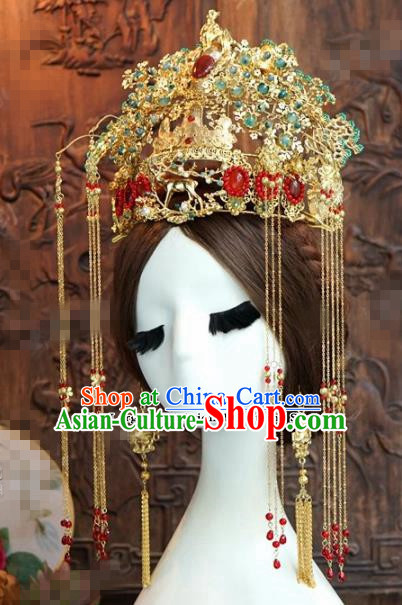 Chinese Ancient Queen Tassel Phoenix Coronet Wedding Bride Hairpins Headdress for Women