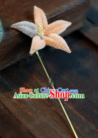 Chinese Ancient Queen Hair Clip Wedding Bride Headdress Orange Velvet Flower Hairpins for Women