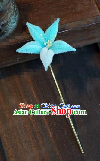 Chinese Ancient Queen Hair Clip Wedding Bride Headdress Light Blue Velvet Flower Hairpins for Women