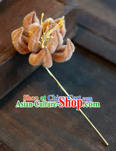 Chinese Ancient Queen Orange Velvet Flower Hair Clip Wedding Bride Headdress Hairpins for Women