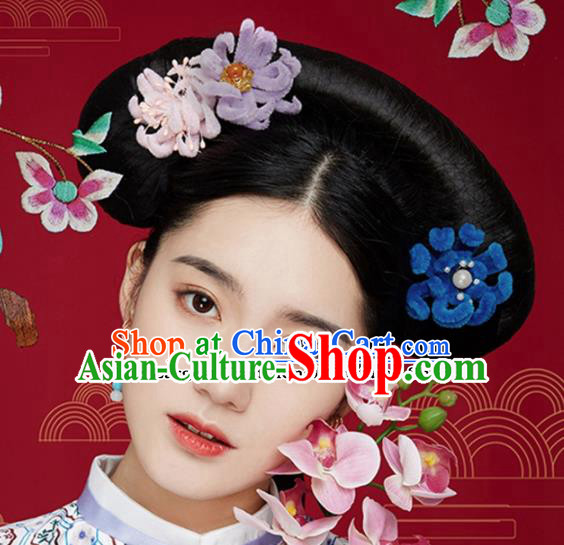 Chinese Ancient Queen Velvet Flower Hair Clips Wedding Bride Headdress Hairpins for Women