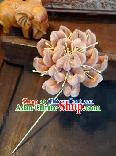 Chinese Ancient Queen Orange Velvet Chrysanthemum Hair Clip Wedding Bride Headdress Hairpins for Women