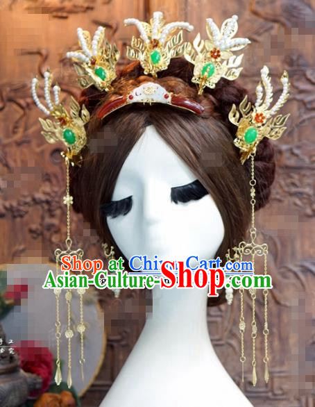Chinese Ancient Qing Dynasty Empress Phoenix Hair Clips Wedding Bride Hairpins Headdress for Women