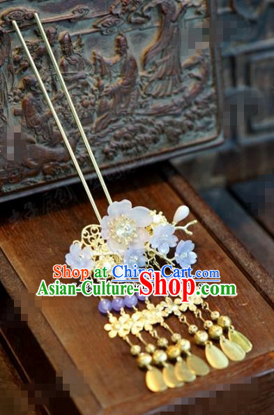 Chinese Ancient Bride Hair Accessories Wedding Tassel Flowers Hairpins for Women