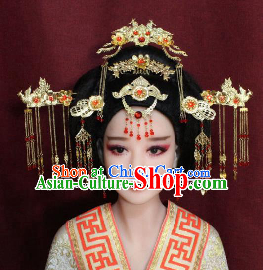 Chinese Ancient Tang Dynasty Queen Headdress Hairpins Complete Set for Women