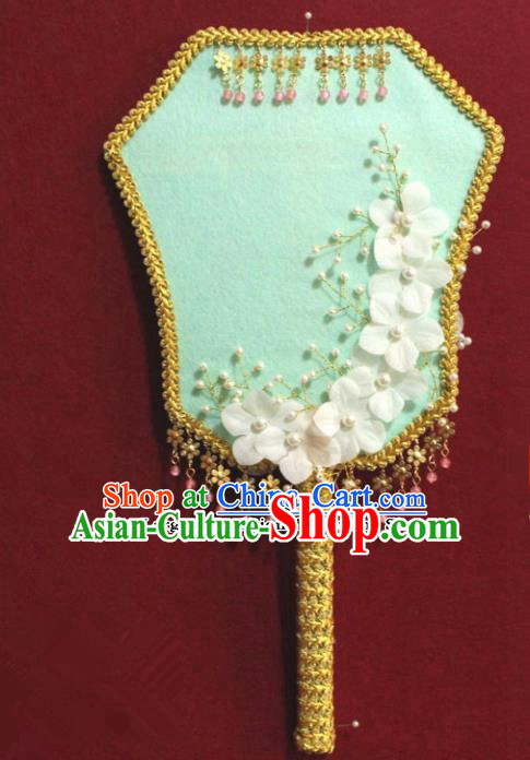 Chinese Traditional Green Palace Fans Ancient Wedding Jewelry Accessories for Women