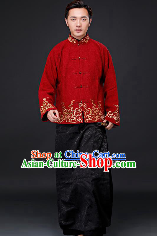 Chinese Ancient Republican Period Drama Childe Costumes Long Robe and Mandarin Jacket for Men