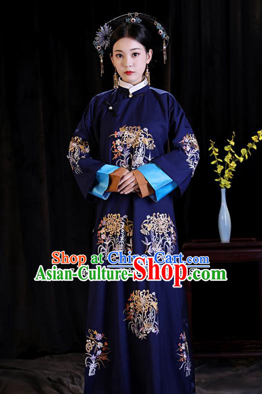 Chinese Ancient Drama Palace Queen Clothing Qing Dynasty Manchu Empress Embroidered Costumes and Headpiece for Women