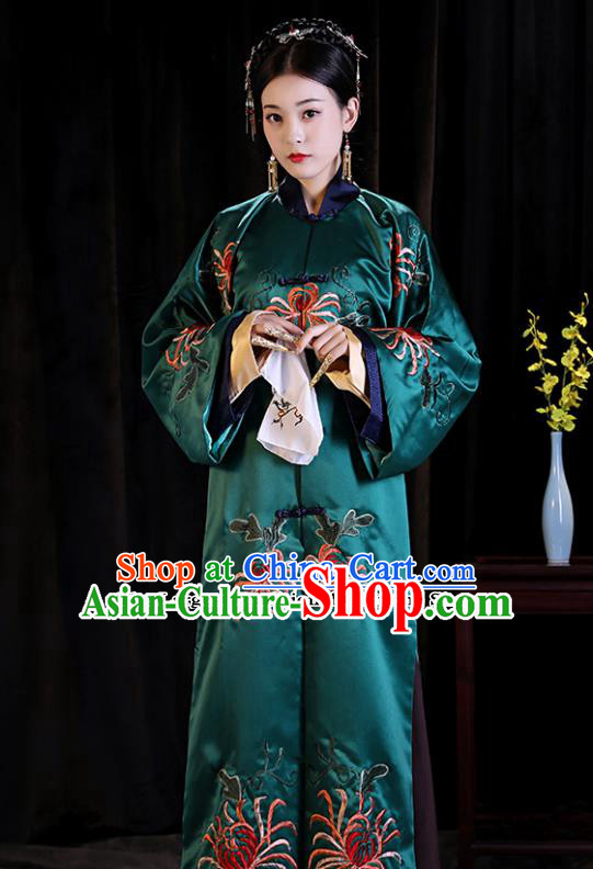 Chinese Ancient Palace Lady Clothing Qing Dynasty Drama Manchu Imperial Consort Embroidered Costumes for Women