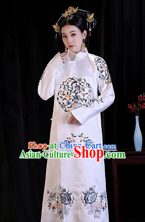 Chinese Ancient Manchu Lady Embroidered Dresses Qing Dynasty Drama Princess Costumes and Headpiece Complete Set