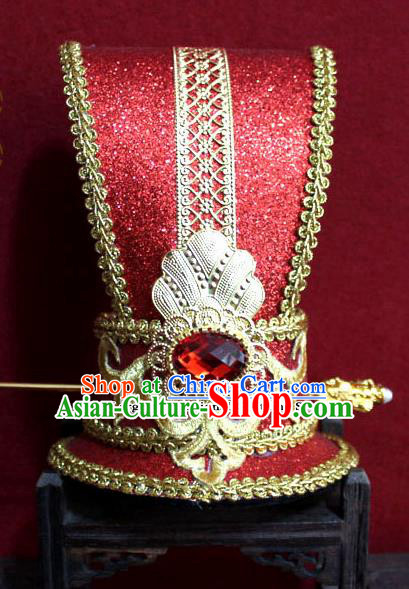 Chinese Traditional Classical Hair Accessories Ancient Prince Red Hairdo Crown for Men