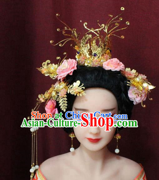 Chinese Ancient Tang Dynasty Wedding Hair Accessories Phoenix Coronet Hairpins Complete Set for Women