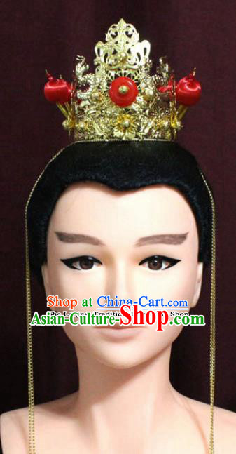 Chinese Traditional Classical Jewelry Accessories Ancient Prince Golden Crown for Men