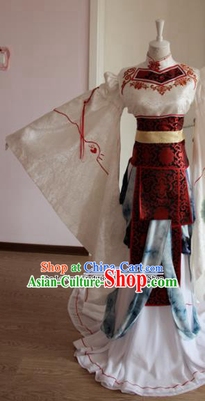 Chinese Traditional Cosplay Princess Costumes Ancient Female Swordsman White Dress for Women