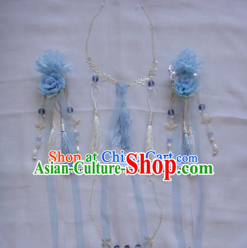Chinese Traditional Classical Hair Accessories Ancient Princess Blue Flowers Hairpins for Women
