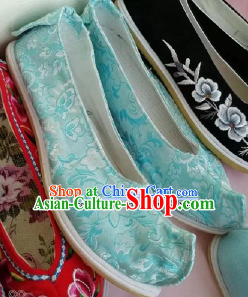 Chinese Traditional Hanfu Shoes Embroidered Shoes Handmade Blue Satin Shoes for Women