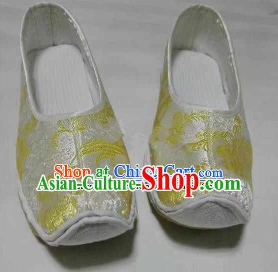 Chinese Traditional Hanfu Shoes White Satin Shoes Handmade Cloth Shoes for Women