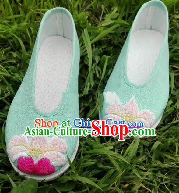 Chinese Traditional Hanfu Shoes Ancient Princess Green Embroidered Shoes Handmade Cloth Shoes for Women