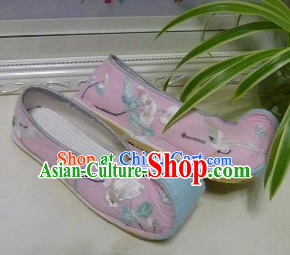 Chinese Traditional Hanfu Shoes Ancient Princess Pink Embroidered Shoes Handmade Shoes for Women