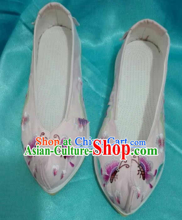 Chinese Traditional Hanfu Shoes Ancient Embroidered Butterfly Pink Shoes Handmade Shoes for Women