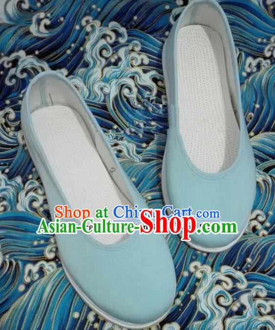 Chinese Traditional Hanfu Shoes Ancient Princess Shoes Handmade Blue Cloth Shoes for Women