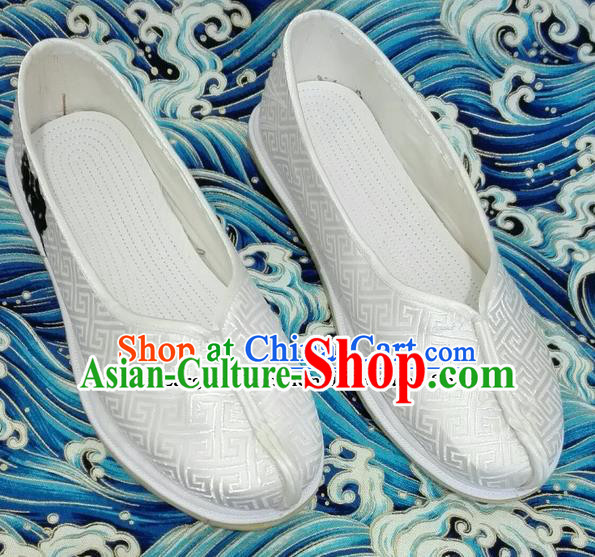 Chinese Traditional Hanfu Shoes Ancient White Embroidered Shoes Handmade Monk Shoes for Men