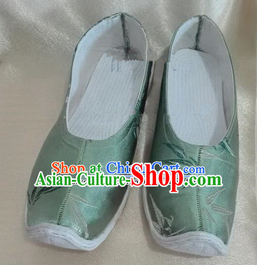 Chinese Traditional Hanfu Shoes Ancient Princess Embroidered Bamboo Green Shoes Handmade Shoes for Women