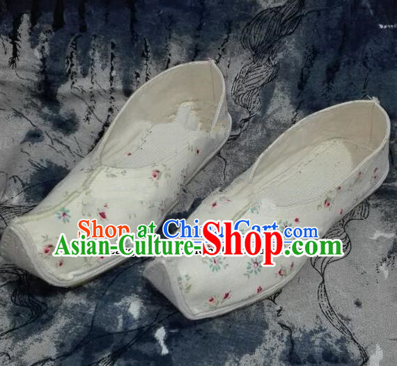 Chinese Traditional Hanfu Shoes Ancient Princess White Embroidered Shoes Handmade Shoes for Women