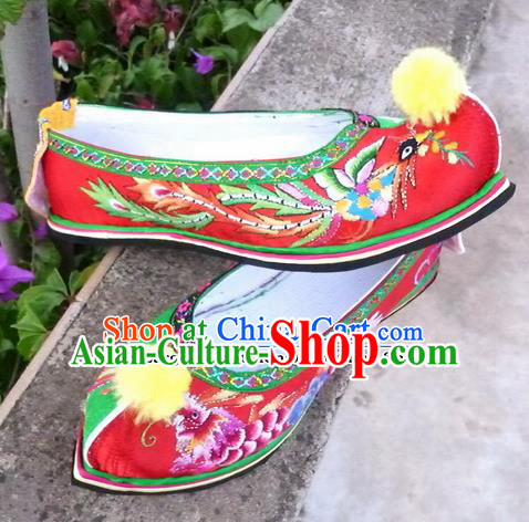 Chinese Traditional Hanfu Shoes Ancient Princess Red Embroidered Shoes Handmade Shoes for Women