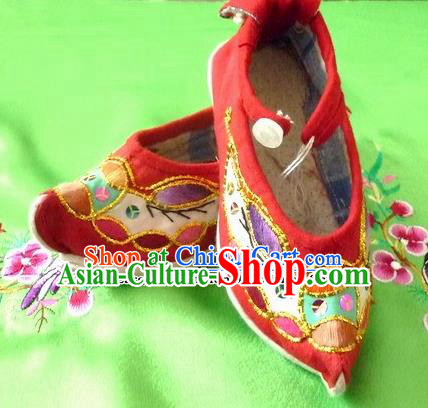 Chinese Traditional Hanfu Red Shoes Ancient Princess Embroidered Shoes Handmade Shoes for Women