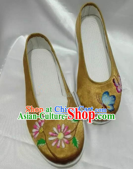 Chinese Traditional Hanfu Shoes Embroidered Peony Shoes Handmade Golden Satin Shoes for Women